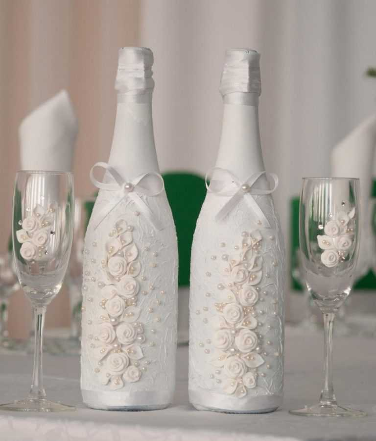 Украшение свадебных бокалов и бутылок фото
