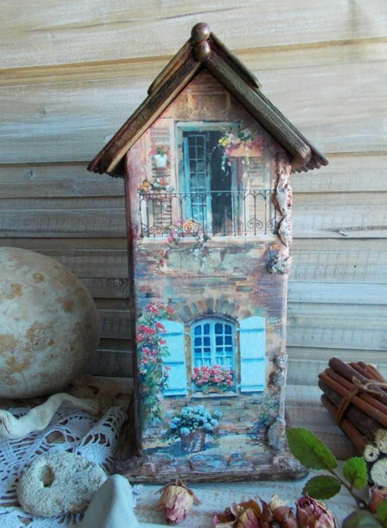 Чайный домик с забором декупаж
