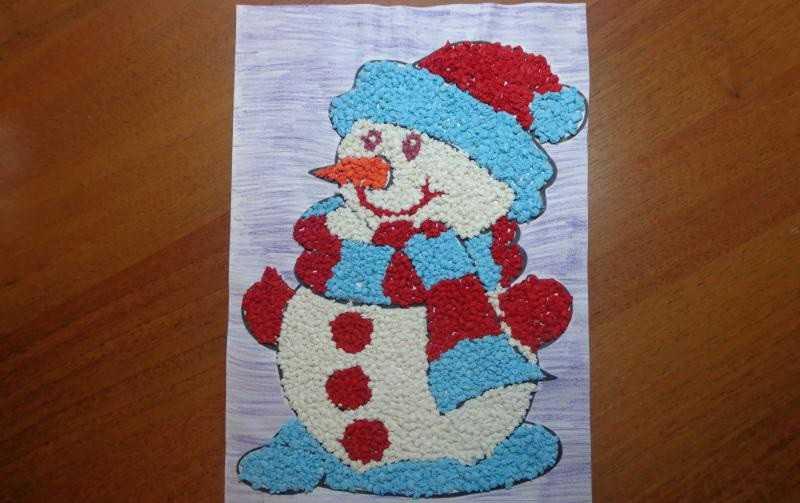 Снеговик из цветной бумаги своими руками аппликация 17